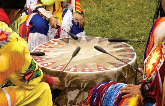 The Powwow, Powwow Dances, Powwow Drums Illustration